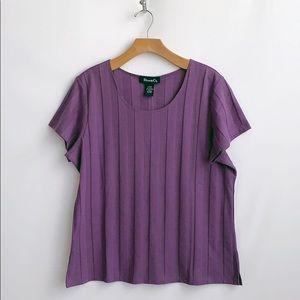 Denim&Co. Dark Lavender Short Sleeved Knit Top